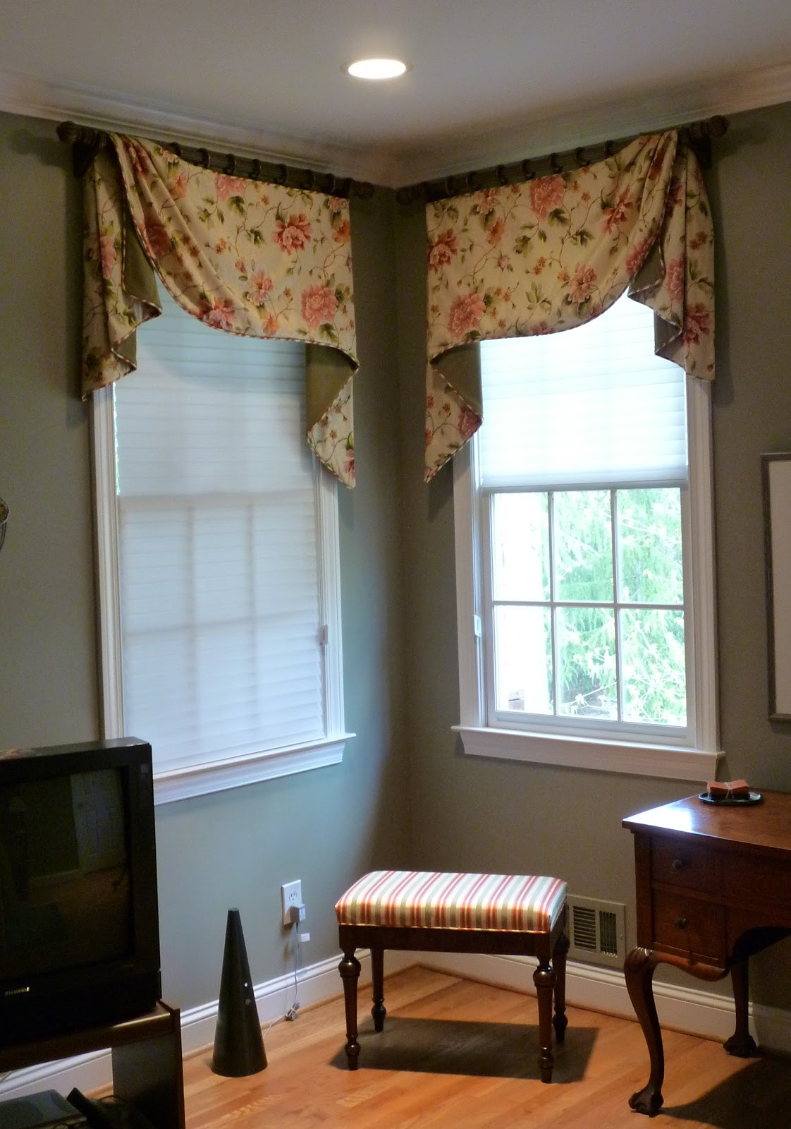 Youngblood interiors corner window treatments for the for Window treatments bedroom ideas