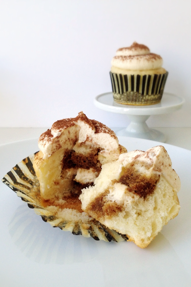 Tiramisu Cupcakes with Mascarpone Whipped Cream Frosting