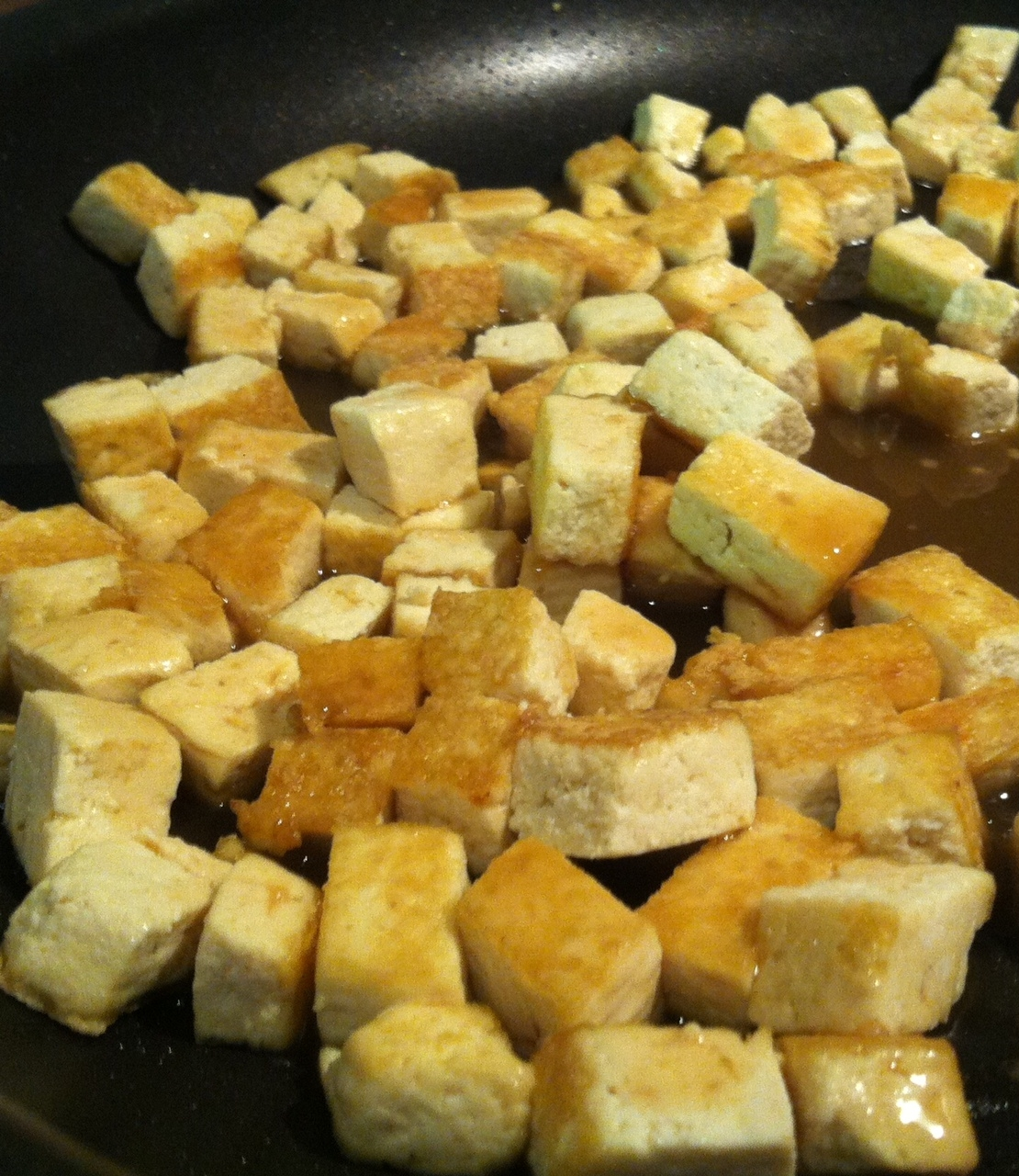 ... Give Peas a Chance: Spaghetti Squash topped with Maple-Glazed Tofu