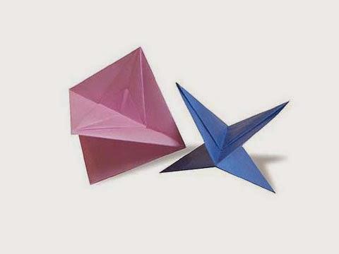 Cách gấp, xếp con quay kỳ ảo bằng giấy origami - Video hướng dẫn xếp hình - How to make a Wheeling Top