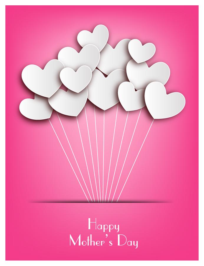 母の日を祝うハート型風船の背景 Happy Mother Day Heart Background イラスト素材