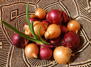 Basket of Red and Yellow Onions