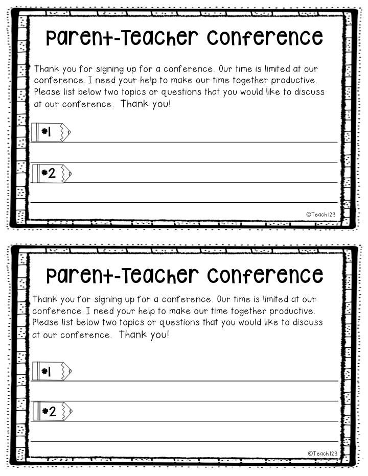 parent teacher conference form templates