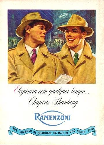 Propaganda de 1950 que apresenta os Chapéus Ramenzoni: conceito de elegância para homens.