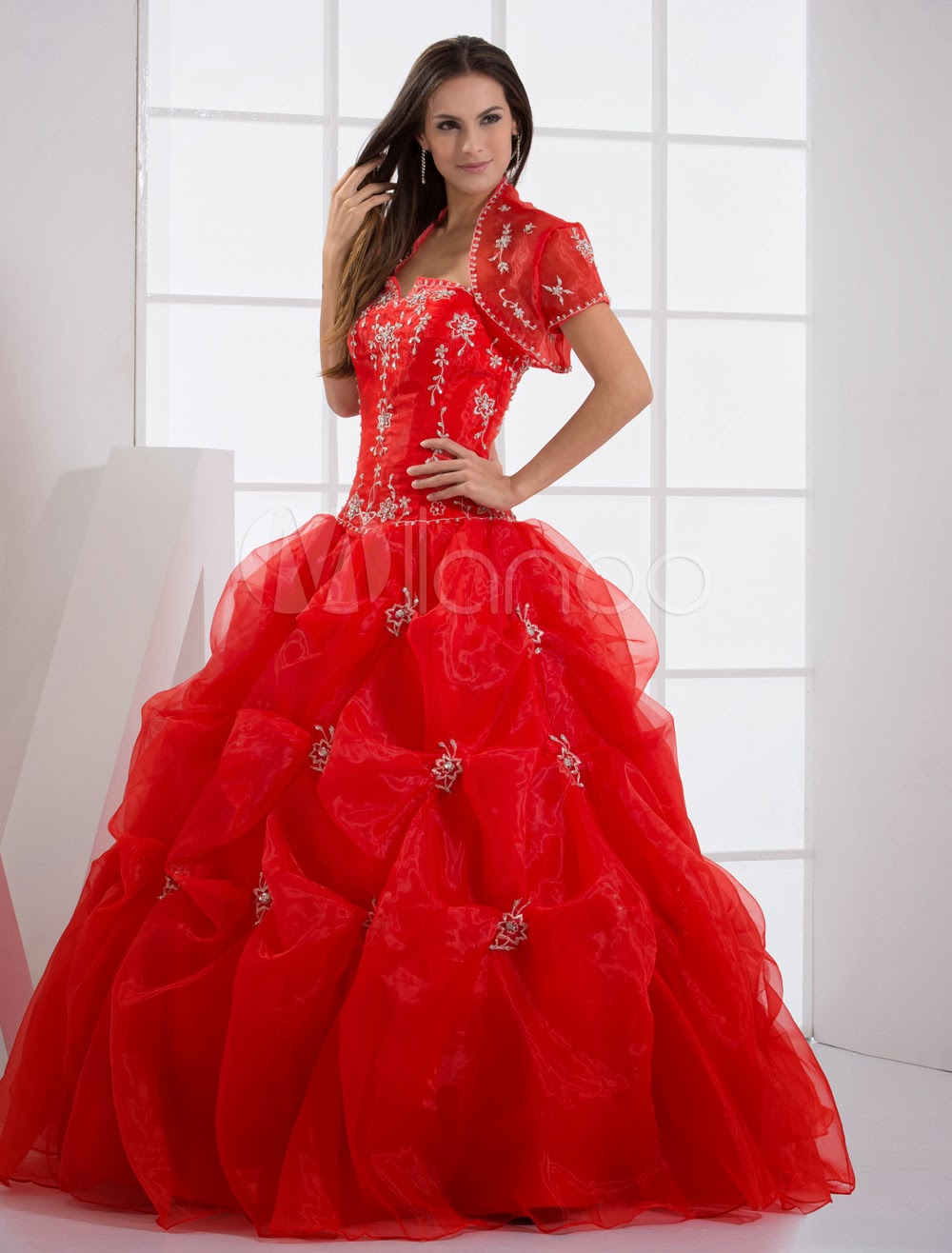 China Wholesale Dresses - Ball Gown Red Strapless Quinceanera Dress