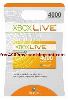 4000 Microsoft Points Code Unused