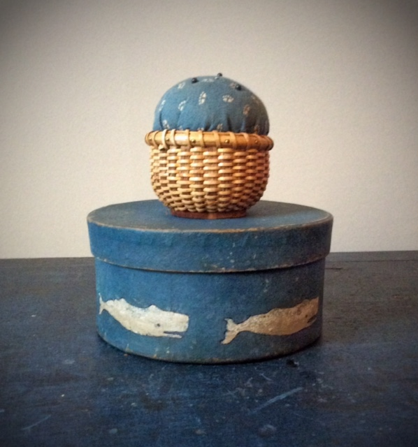 Paint Decorated Box with Handmade Nantucket Basket