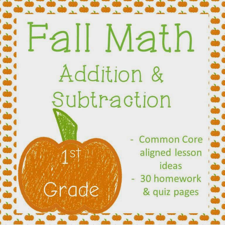 http://www.teacherspayteachers.com/Product/HalloweenBash2014-Fall-Addition-Subtraction-Math-Homework-1st-Grade-1037503