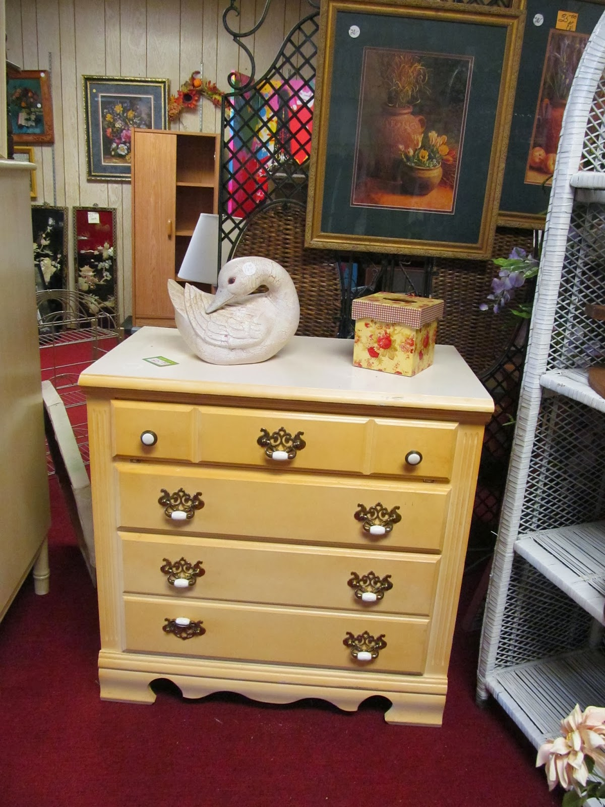 dresser and ceramic duck at Mertie's This and That