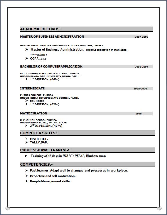 resume blog co  beautyful resume sample  mba  marketing