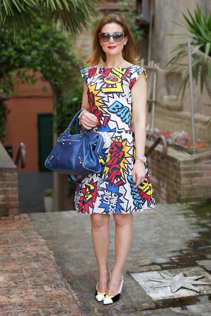 Comics print dress, Love Moschino comics dress, Balenciaga city blue, Fashion and Cookies, fashion blogger