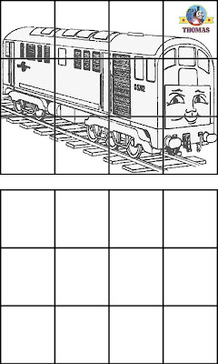 Pictures of Thomas and friends BoCo Diesel train coloring for kids online education drawing grids