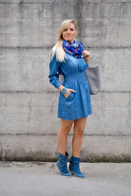 abito a manica lunga in denim vestito in denim vestito di jeans come abbinare un abito in denim abbinamenti abito in denim come abbinare un vestito di jeans  vestito amyclubwear abito ladylike mariafelicia magno fashion blogger colorblock by felym fashion blog italiani fashion blogger italiane blogger italiane di moda blogger italiane outfit autunnali casual outfit ottobre 2015 street style casual autumnal outfit denim shirt dress how to wear denim shirt dress how to combine denim shirt dress