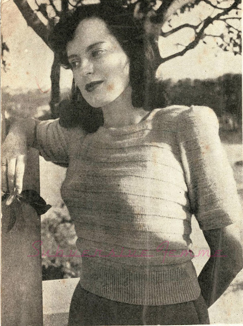 The Vintage Pattern Files Free 1940's Knitting Pattern -  An Interesting Grey Woollen Jumper