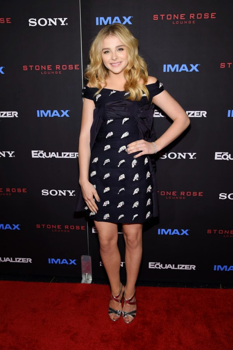 Chloe Moretz in a little black dress at 'The Equalizer' New York City premiere