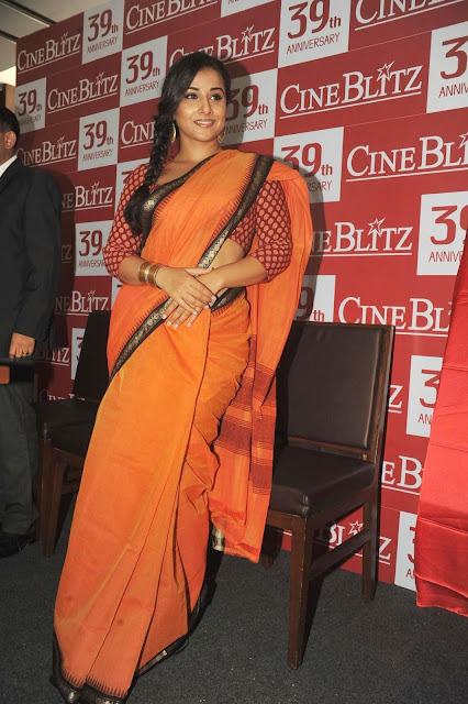 Bollywood Actress Vidya Balan Latest Saree Photos at Launch of Cine Blitz Magazine April 2013 Issue