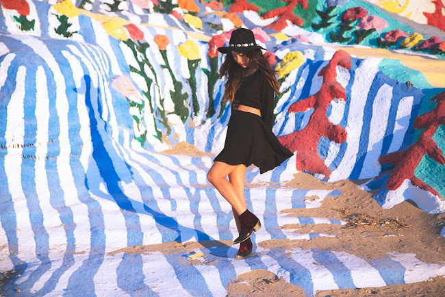 salvation mountain, leonard knight, salvation mountain photos, salvation mountain photoshoot, for love and lemons, concho hat, tba shoes, to be announced pony ride