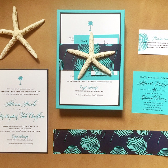 Palm Leaf Pattern Wedding Invitation