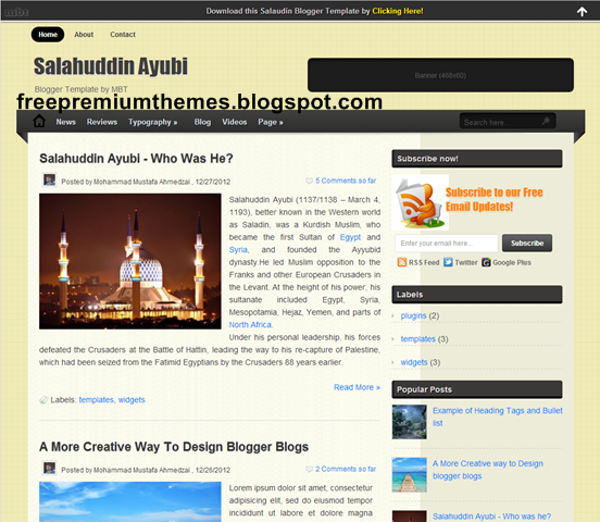 Top 10 premium templates SEO friendly and optimized ! 8. Salahuddin Ayubi Blogger Template...