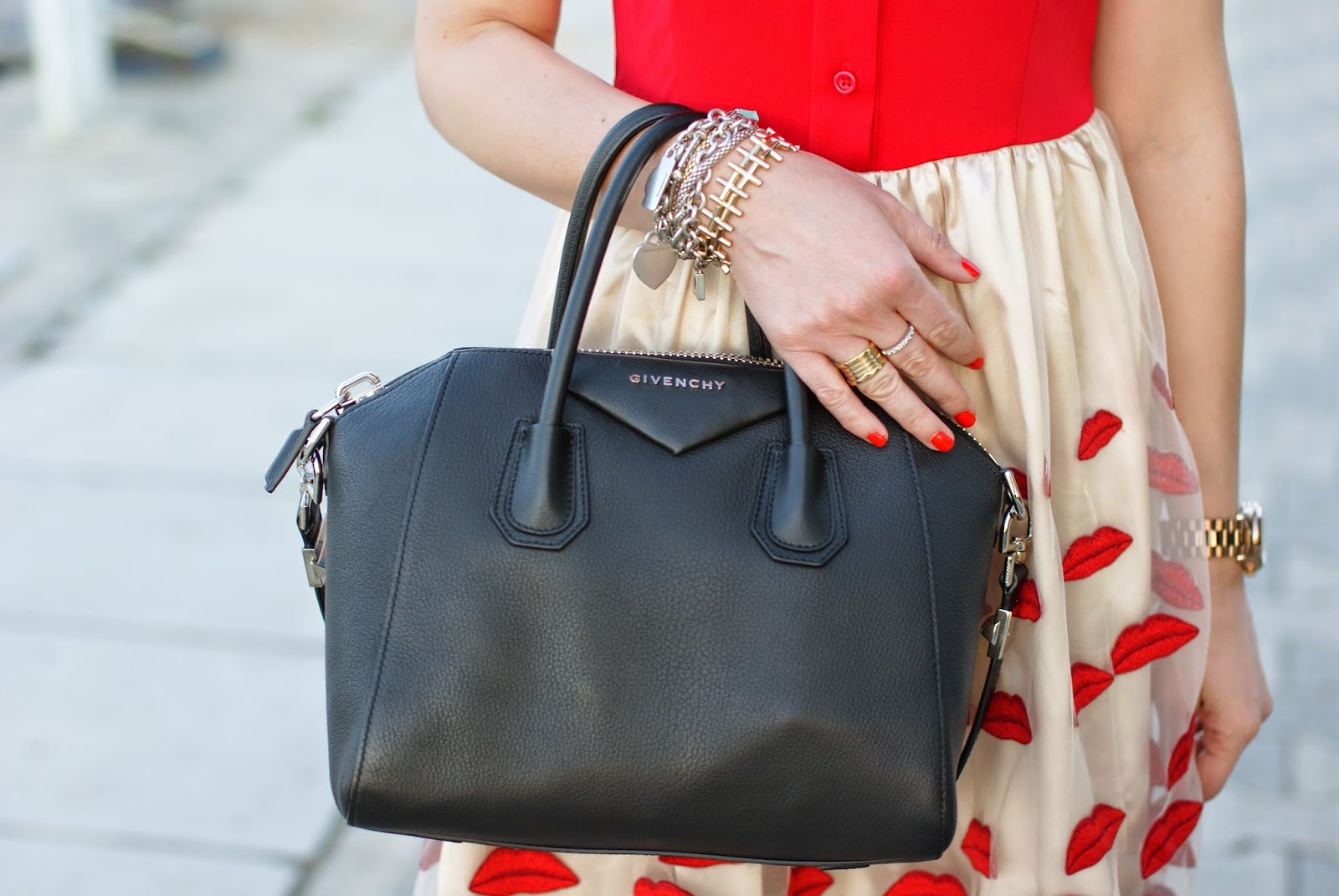 Givenchy Antigona black bag, Captain Dior nail polish, bvlgari ring, Fashion and Cookies, fashion blogger