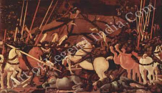 "The Great Artist Paolo Uccello Painting ""The Battle of San Romano"" c.1456-60 71 ½"" X 126 ½"" Uffizi, Florence"
