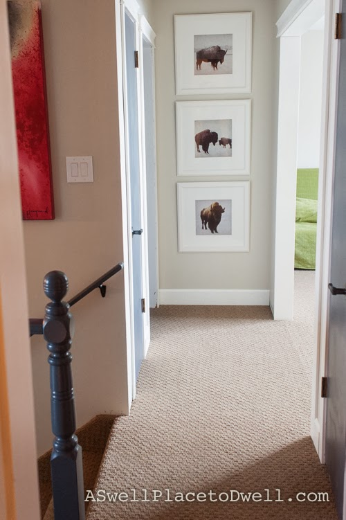 hallway reveal with painted interior doors.