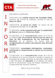 C.T.A. INFORMA CRÉDITO HORARIO CRISTOBAL NIETO, MAYO 2018