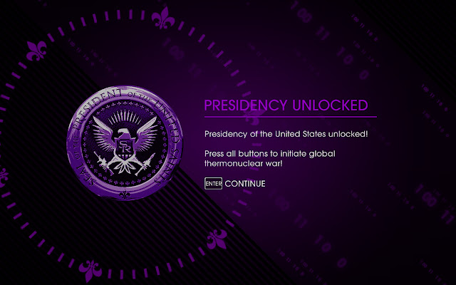 Saints Row IV Presidency Unlocked message