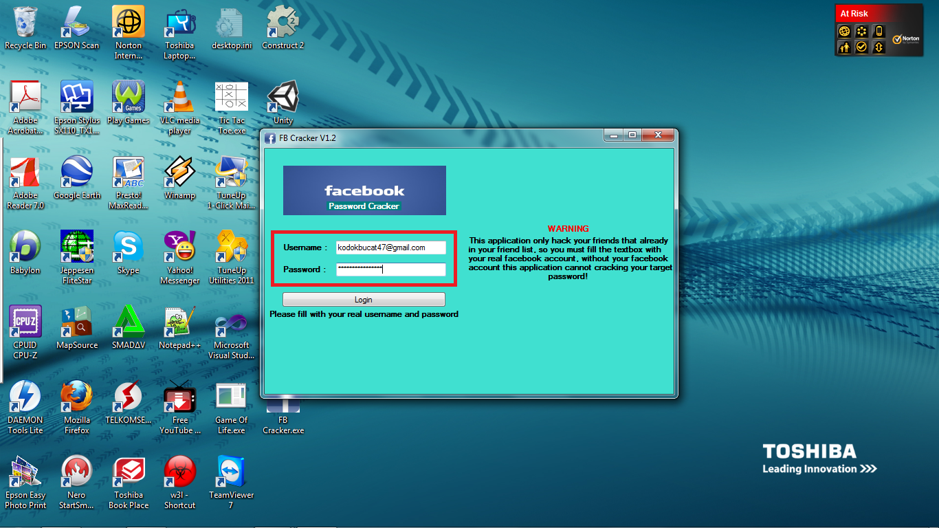 ... maka anda bisa memulai aktifitas pembobolan password dengan mudah