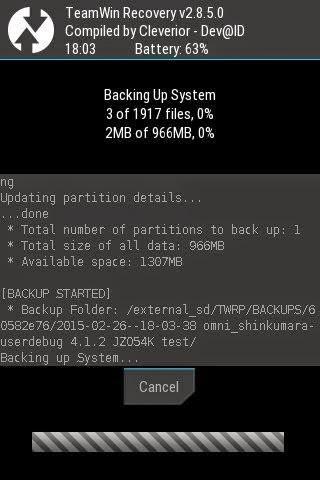 proses backup dengan twrp recovery