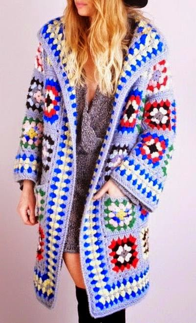 Crochet Jacket : Crochet Sweaters: Crochet Pattern of Cardigan Jacket or Coat - Square ...