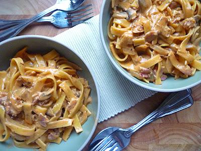 Creamy Bacon, Mushroom and Tomato Tagliatelle
