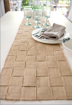 Caminero de mesa o alfombra con cinchas de yute, sin coser