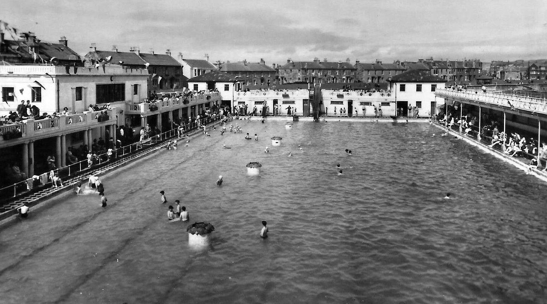 tour scotland photographs old photograph swimming pool troon scotland