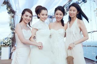 徐若瑄峇里島婚禮,左到右分別為伴娘王思涵、徐若瑄、好友林心如、名媛陳浥萍