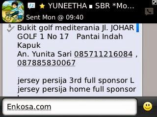 Konfirmasi alamat Yunita Sari