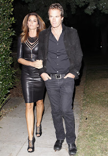 Cindy Crawford  Arriving at 2012 Halloween Party in black leather dress