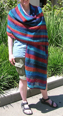 v-shawl in three colors on model