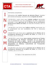 C.T.A. INFORMA CRÉDITO HORARIO ANTONIO PÉREZ, AGOSTO 2018