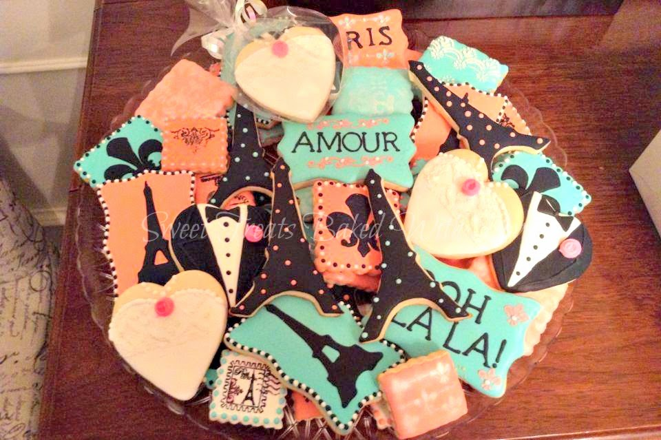 Sweet Treats Baked With Love Paris Themed Wedding Cookies