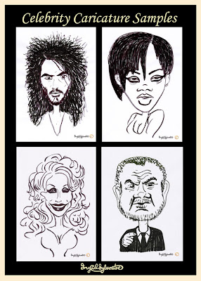 Celebrity caricatures by UK caricaturist Ingrid Sylvestre