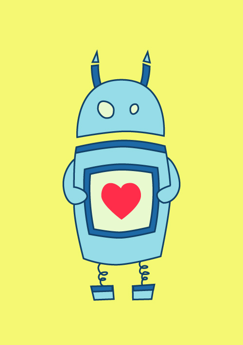 Cute robot with heart on bright yellow background