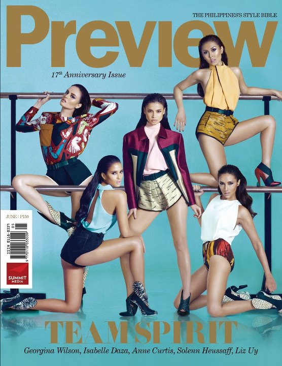 Preview June 2012 Cover - Georgina Wilson, Isabelle Daza, Anne Curtis, Liz Uy, Solenn Heussaff