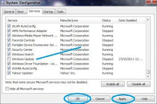 cara mematikan, menonaktifkan automatic update atau update otomatis windows 7