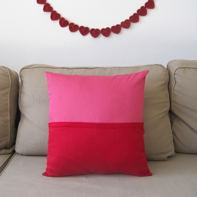 Color Block Pillow with Hidden Zipper. DIY Valentine's Day decor sewing tutorial | She's Got the Notion