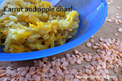 Carrot and apple dhaal: Baby led weaning recipe, dairy free, soya free, CMPA