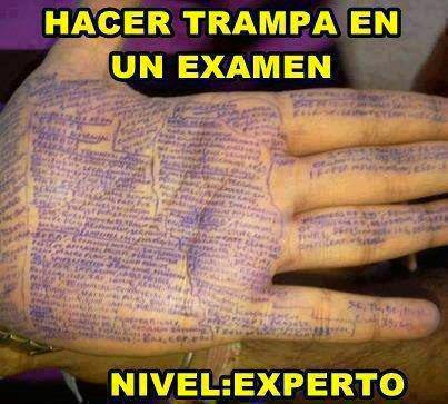 Hacer trampa en un examen