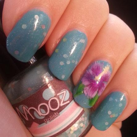 PiggieLuv: Hibiscus nail art using the one stroke technique