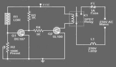 Schematic & Wiring Diagram: LDR based Automatic Street Light Controller