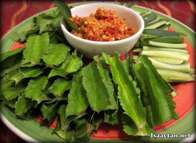 Ulam Platter - Kacang Botol, Daun Pudina with Sambal
